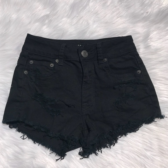 American Eagle Outfitters Pants - American Eagle Black Distressed Bohemian Shorts 00